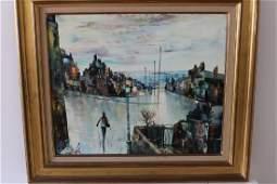 MARC SELVA (1919-) painting Vue de ville