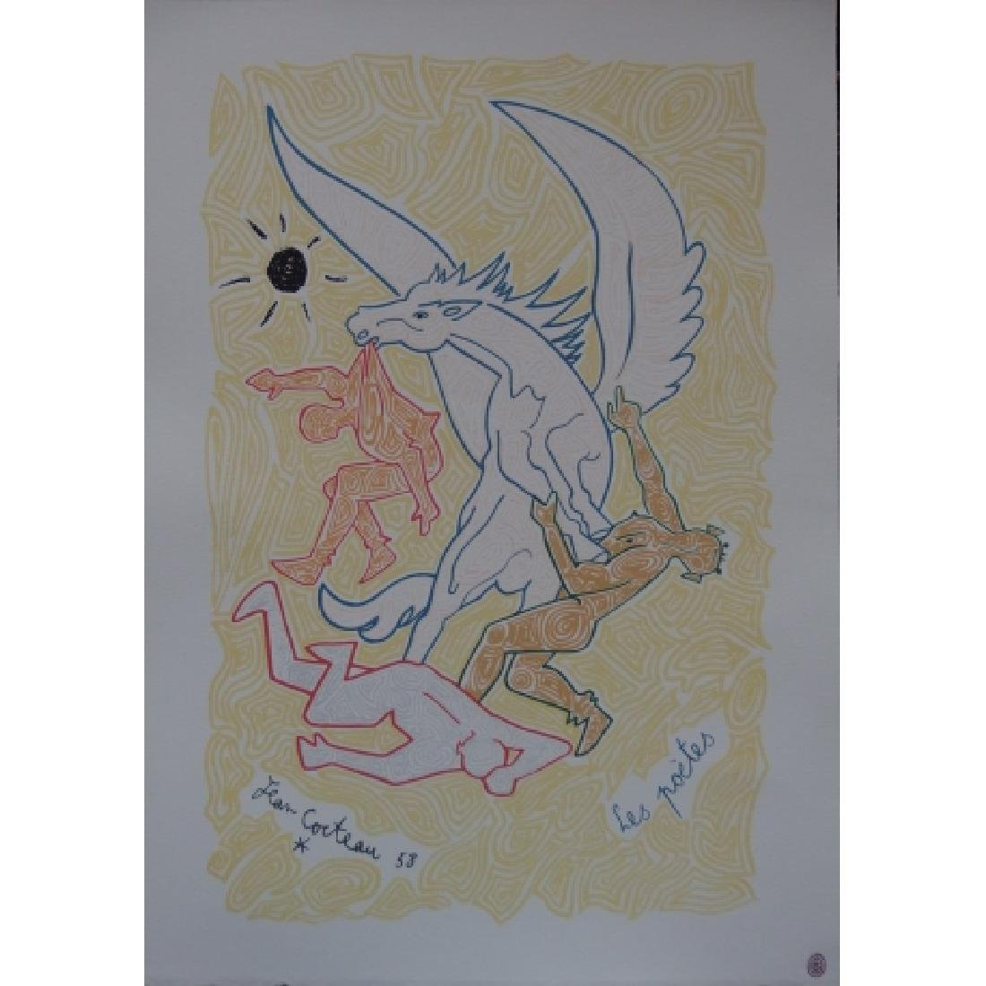Jean COCTEAU Lithograph The poets