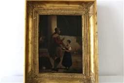 """French School """"le pot au lait"""" Signed Painting"""