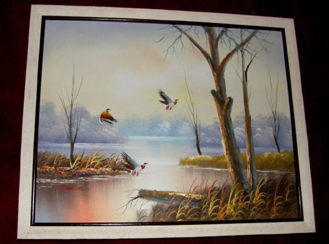 Original Vintage Landscape Oil Painting Canvas W. Anton