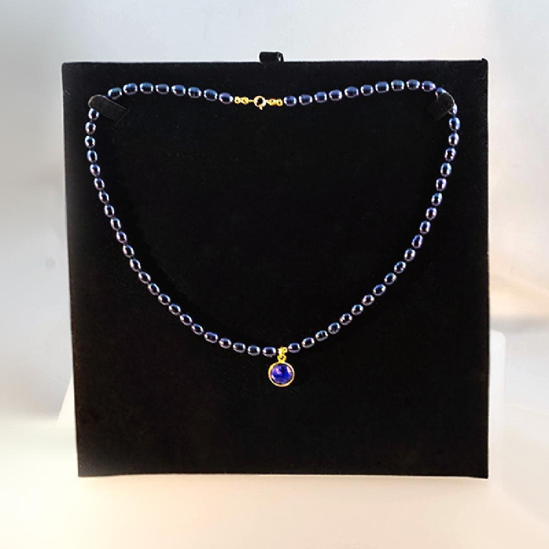14K Midnight Blue Pearl Necklace with 5 carat Sapphire