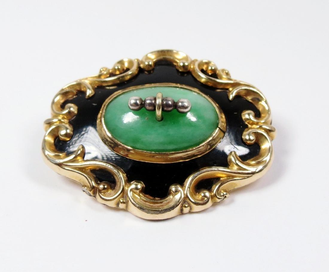 Antique Art Nouveau 14k Gold, Jadeite Jade Brooch Pin