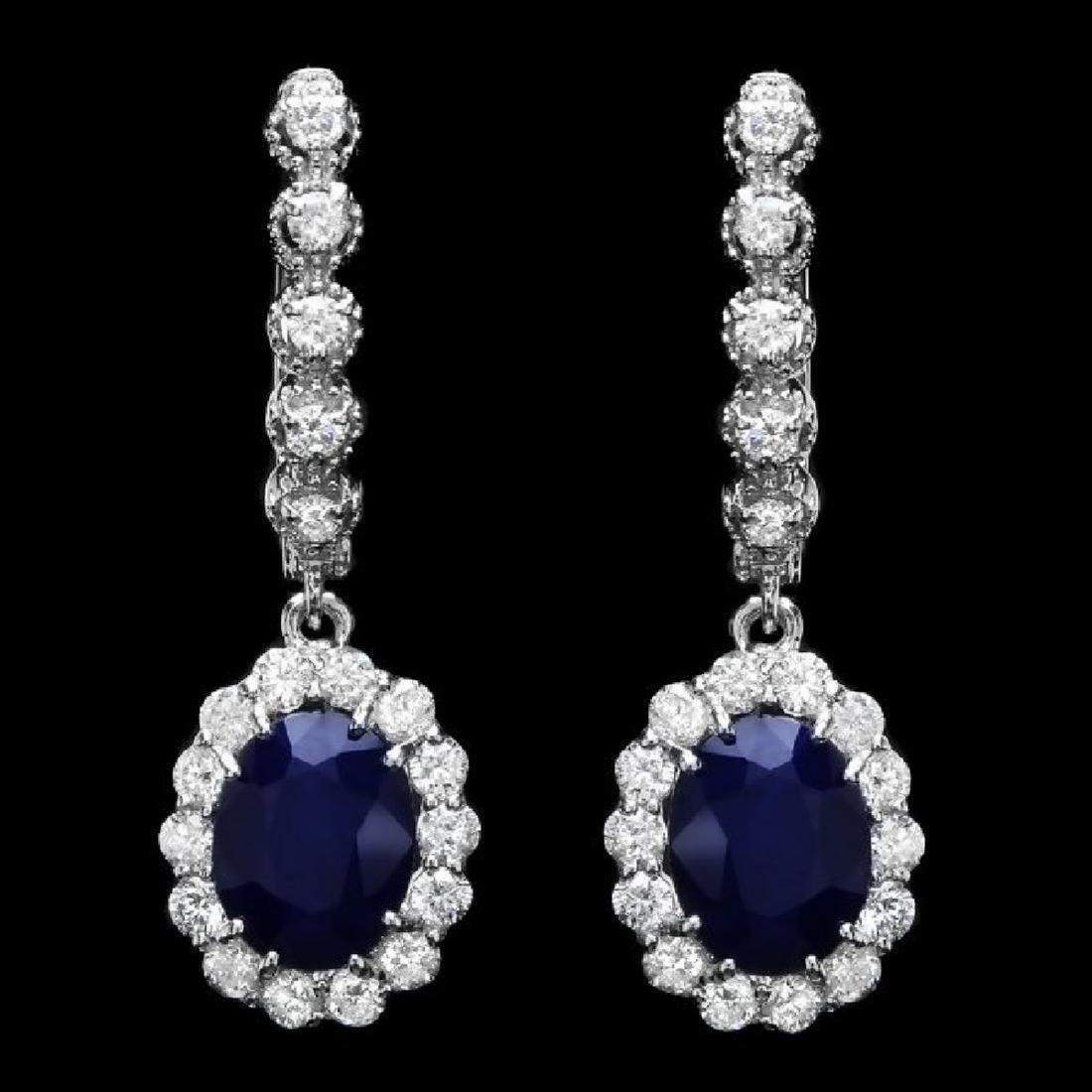 14K Gold 6.35 Ct Sapphire Diamond Dangling Earrings