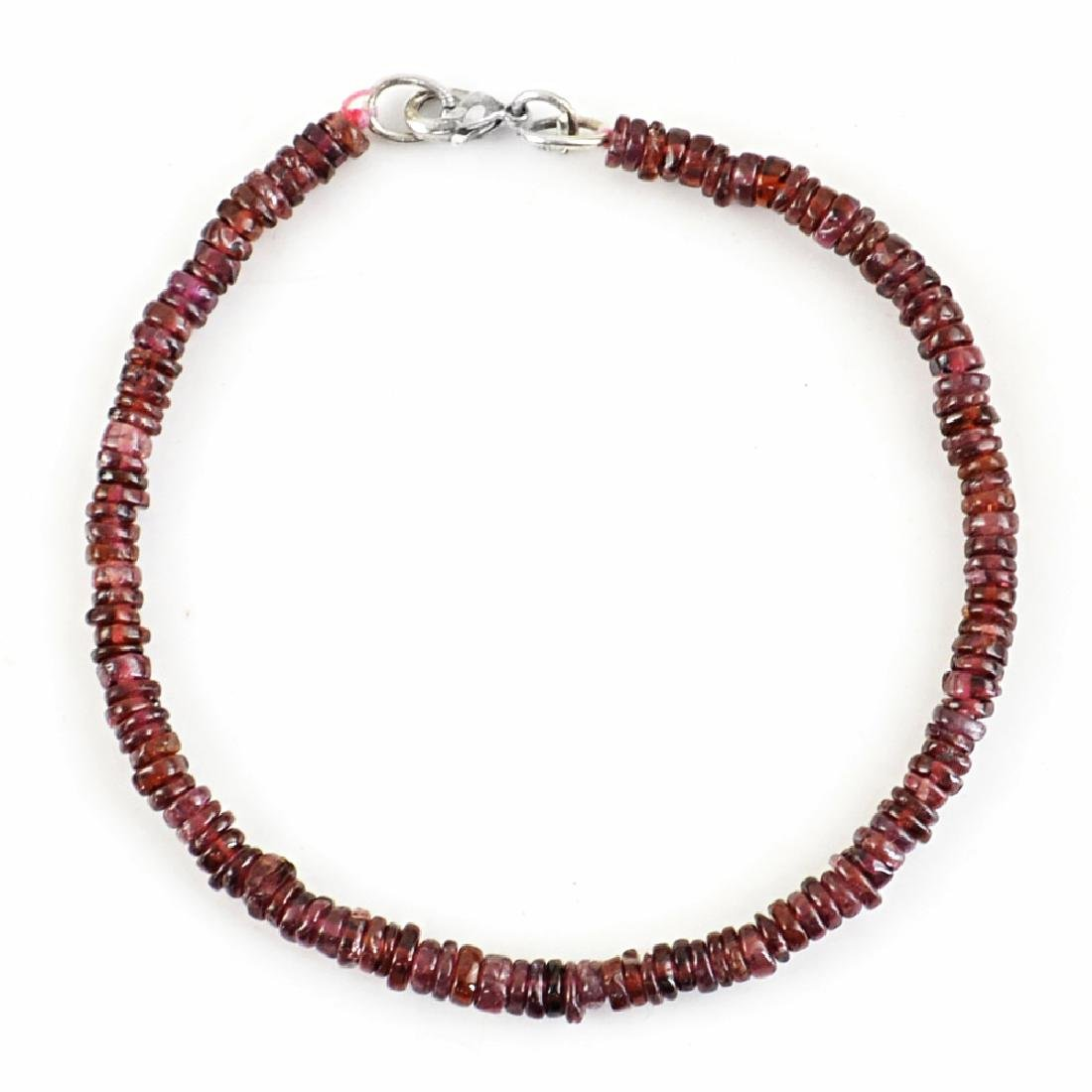 Garnet Bracelet with .925 Sterling Silver , length 8