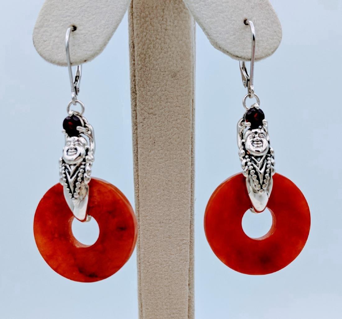 Sterling Silver Jasper Garnet Buddha Design Earrings