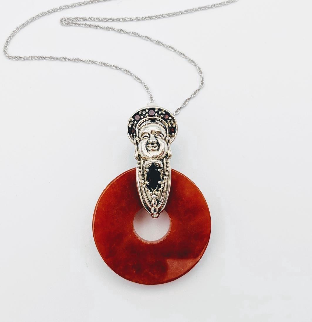 Sterling Silver Garnet Jasper Buddha Design Necklace