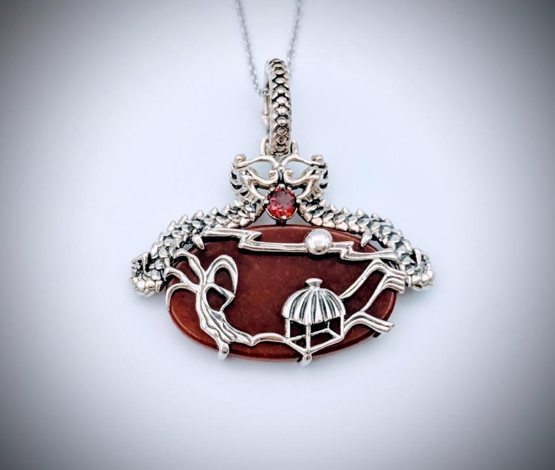Sterling Silver Jasper Garnet Imperial Design Necklace