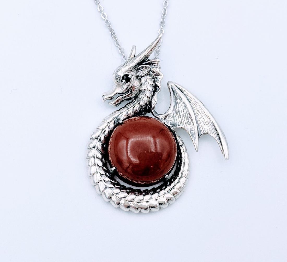 Sterling Silver Jasper Almandine Garnet Dragon Necklace