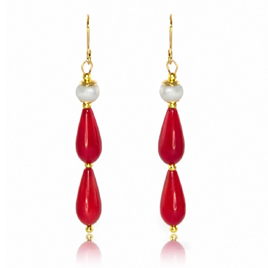 Coral and Pearl Drop Art Deco Style Earrings
