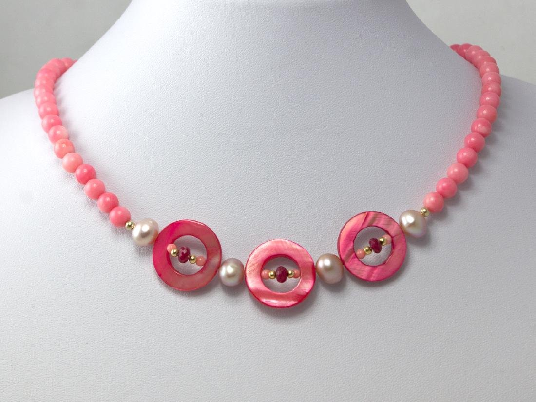 14K Gold Pink Coral, Ruby, Mother of Pearl and Pearl