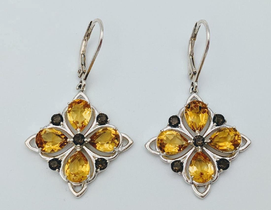 Sterling Silver Citrine Smoky Quartz Earrings, 3.16ctw