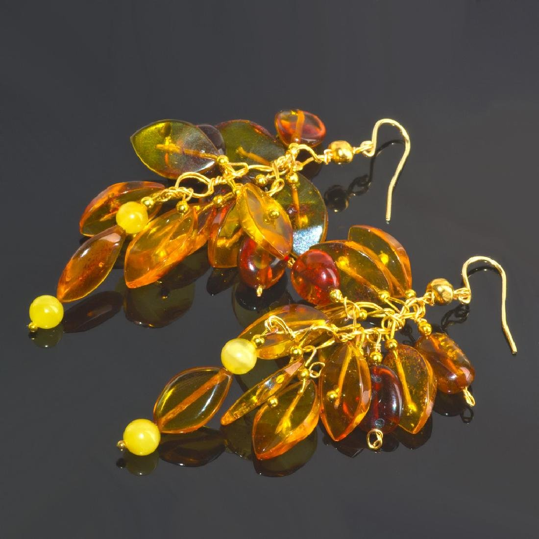 Cluster' Earrings with Natural Baltic Amber