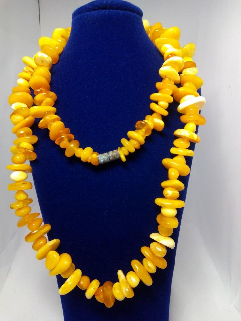 Old Natural Baltic amber beads necklace Royal white egg