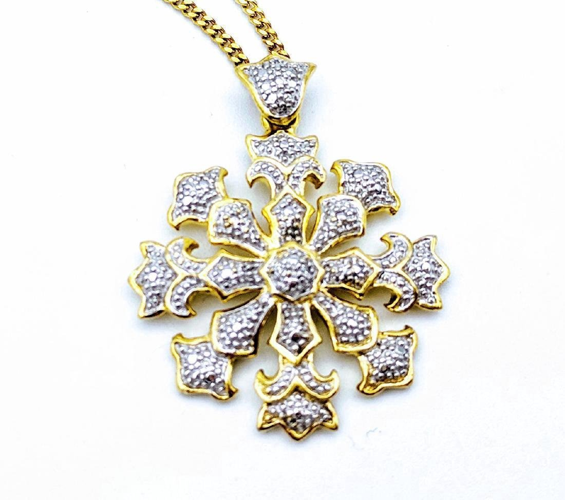 Gold Plated Sterling Silver Diamond Snowflake Necklace