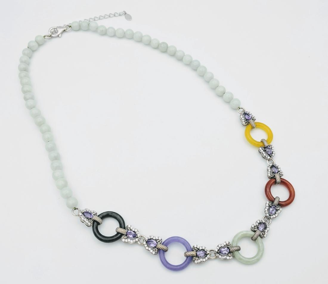 Sterling Silver Beaded Jade Amethyst Necklace
