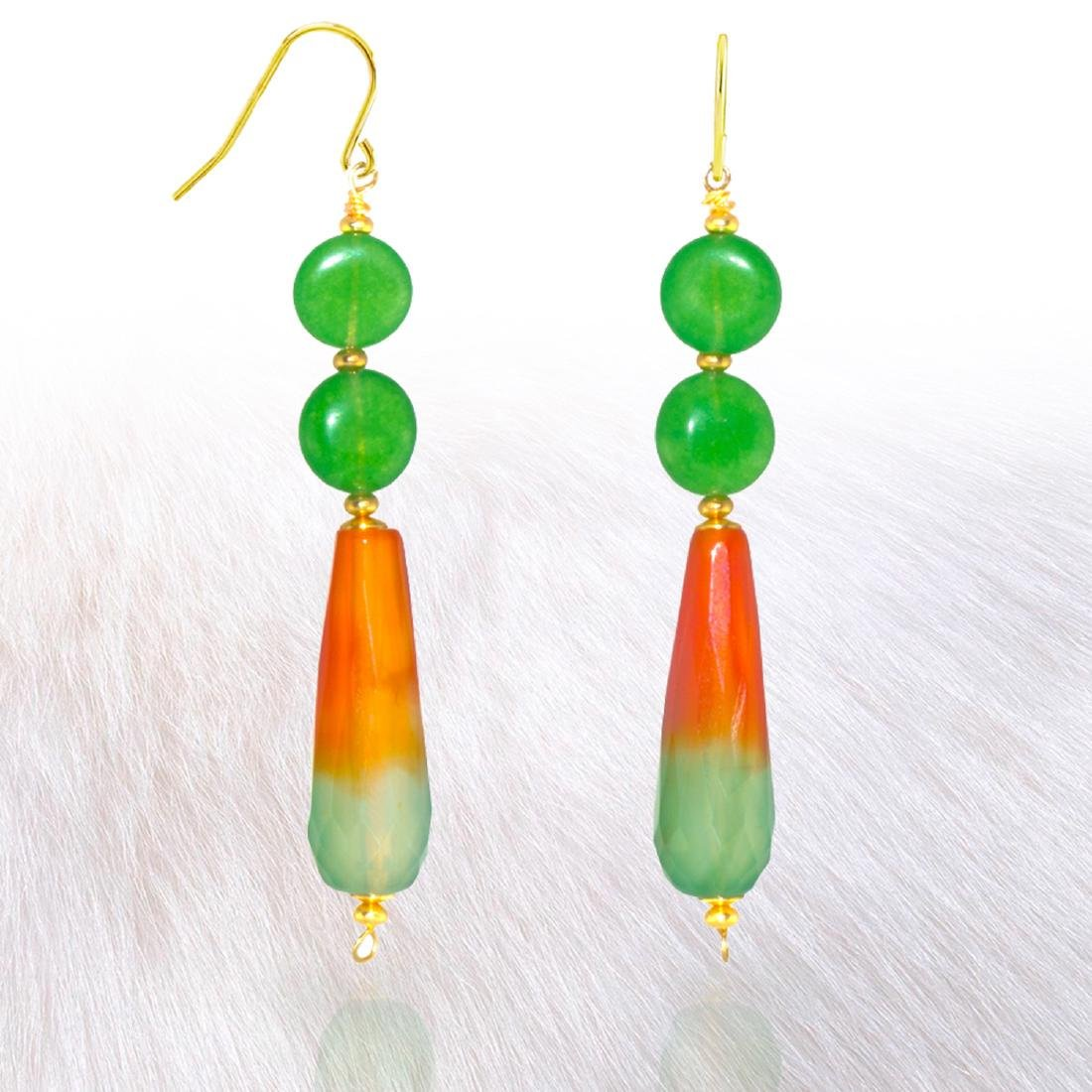 Green Fire Agate and Jadeite Jade Earrings