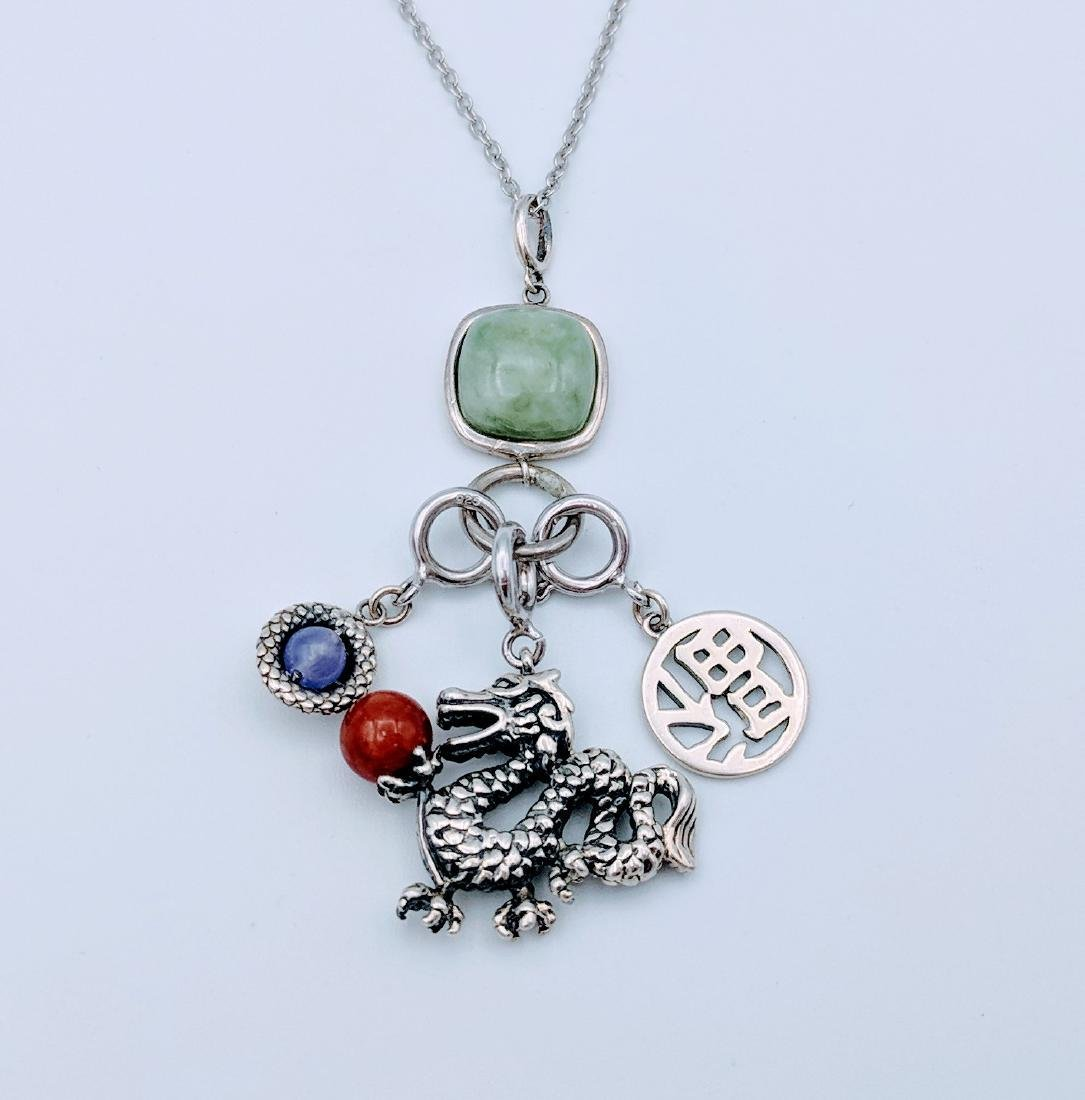 Sterling Silver Jade Jasper Dragon Happiness Necklace
