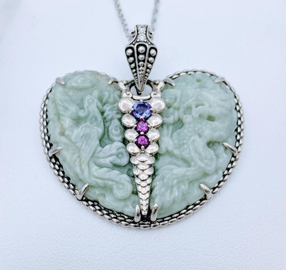 Sterling Silver Engraved Jade Amethyst Heart Necklace