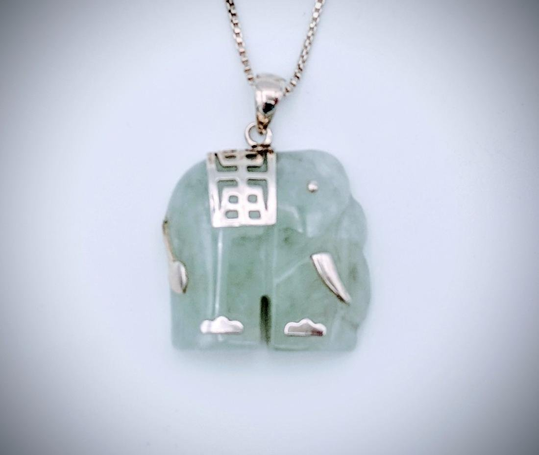 Sterling Silver Necklace and Elephant Jade Pendant