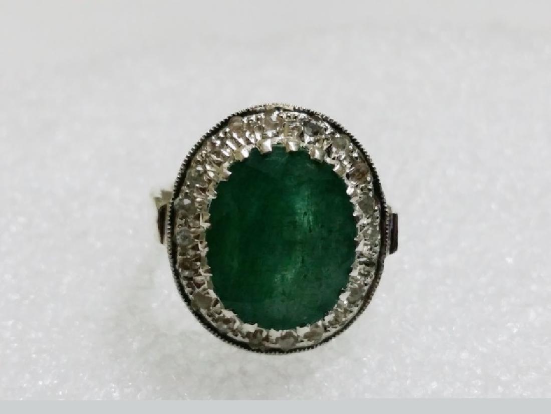 Natural Emerald Ring with Natural Rose Cut Diamonds