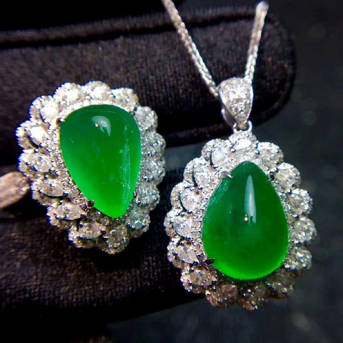 Two Pieces of Emerald jewelry Set,10.3CT