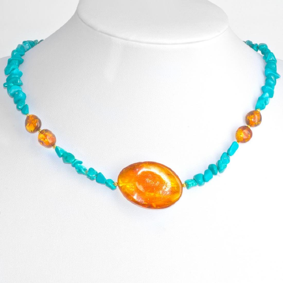 Natural Arizona Turquoise Classic Necklace with Honey