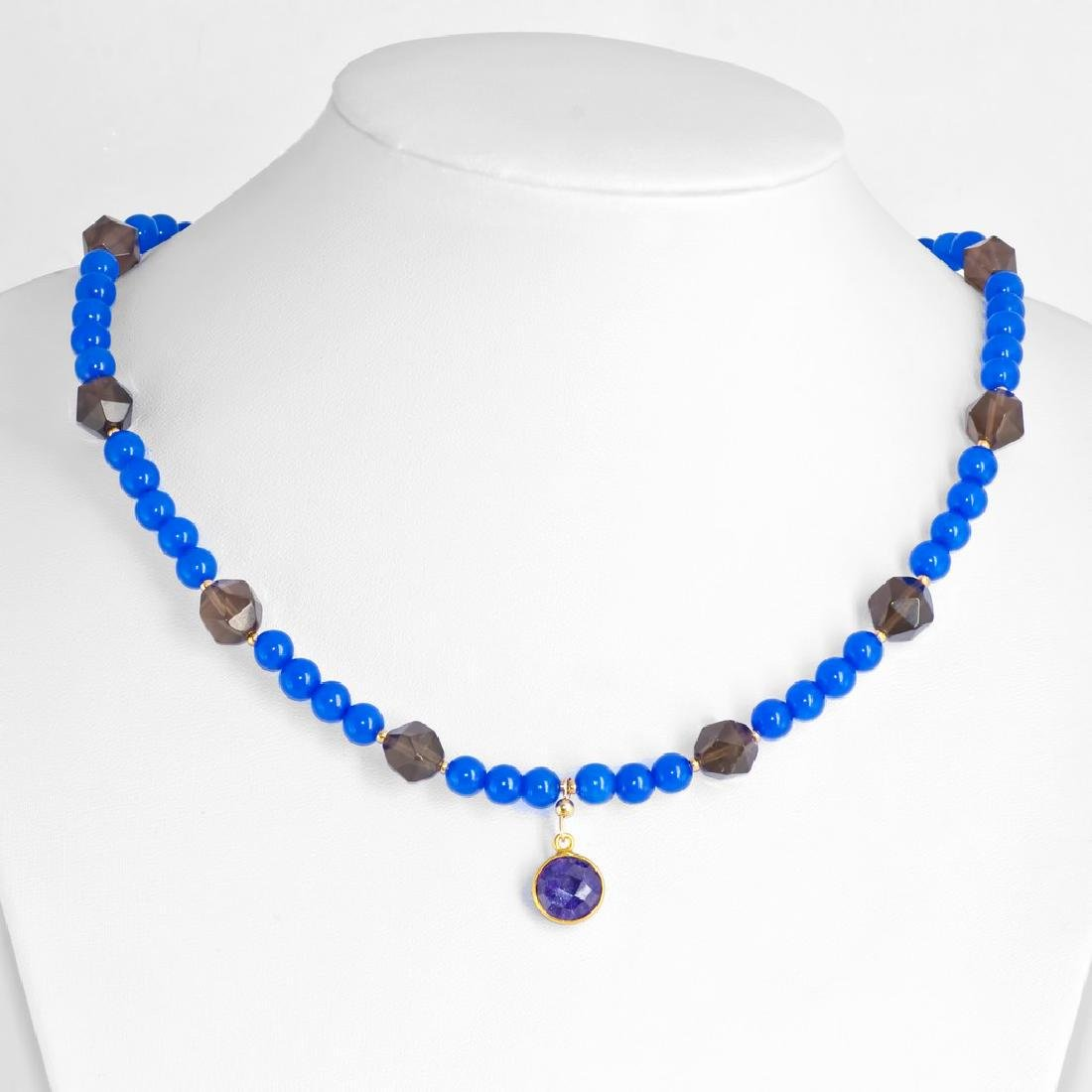 Blue Onyx and Smoky Quartz Necklace with Sapphire 5