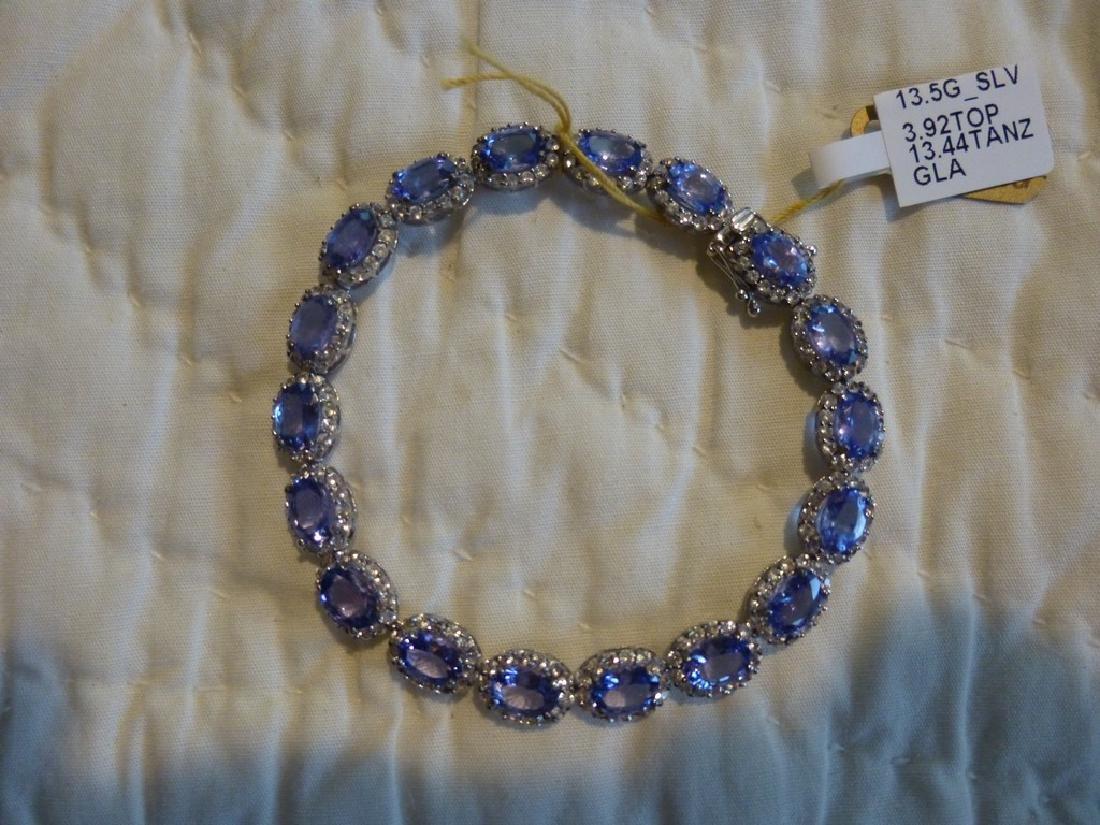 Sterling Silver Tanzanite Sapphire Bracelet