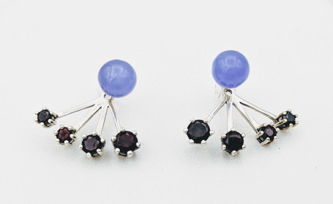 Sterling Silver Violet Jade Garnet Jacket Earrings
