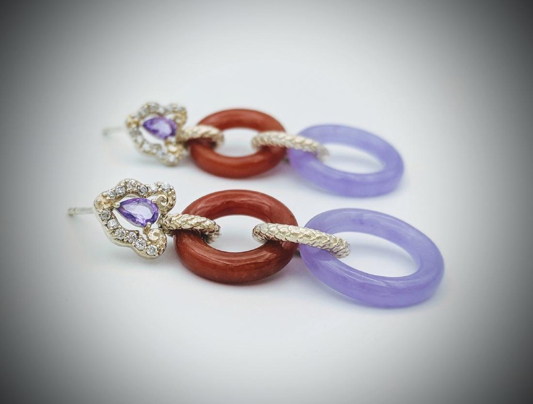 Sterling Silver Violet Jade Jasper Amethyst Earrings