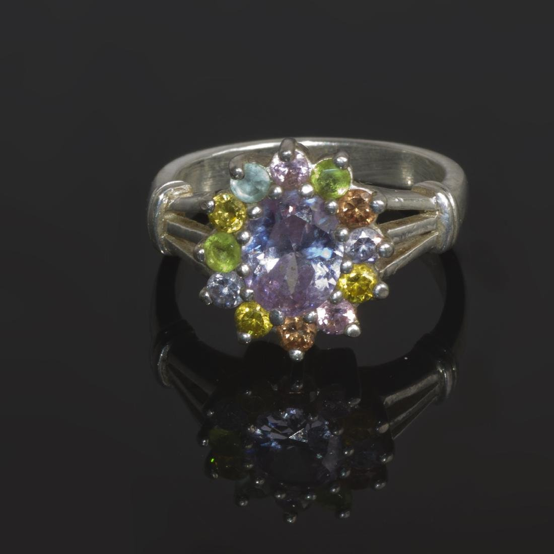 Sterling SIlver Multicolor Cubic Zirconia Ring