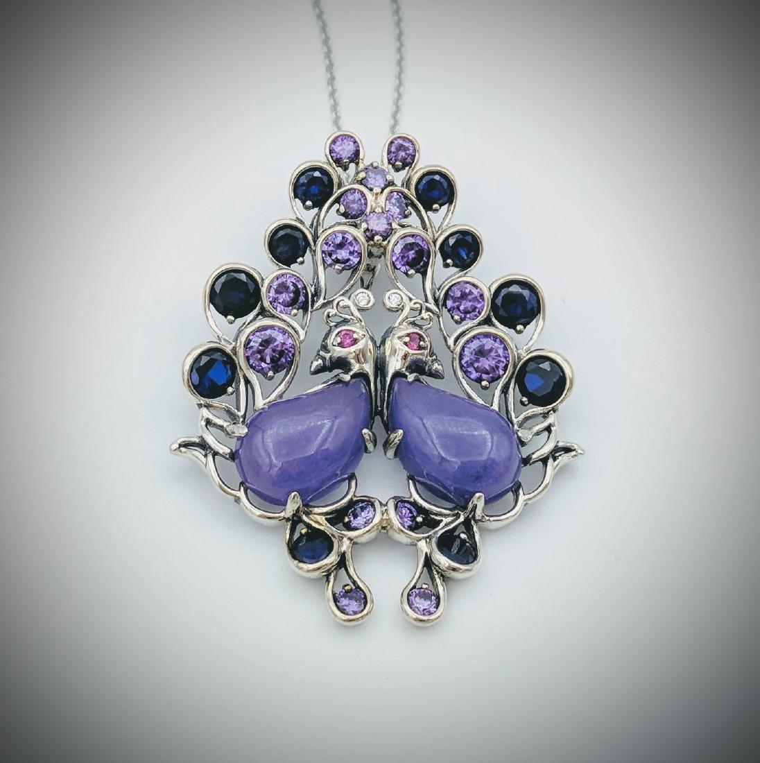 Sterling Silver Jade Sapphire Amethyst Birds Necklace