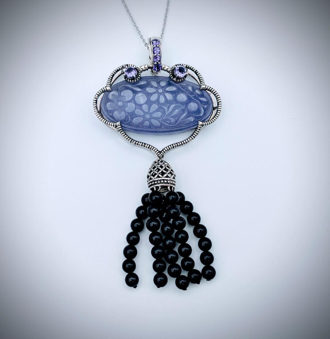Sterling Silver Violet Jade Black Onyx Necklace