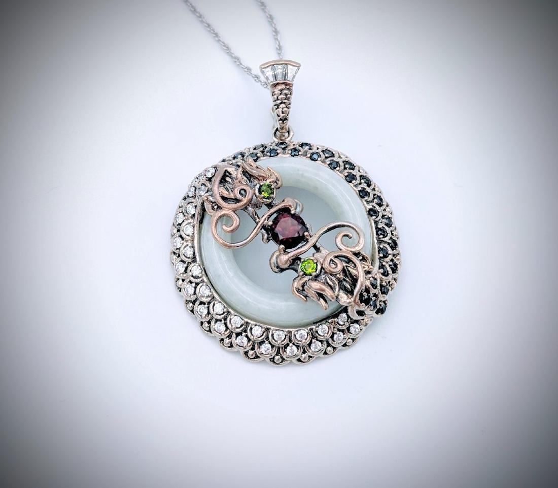 Sterling Silver Garnet Onyx Imperial Design Necklace