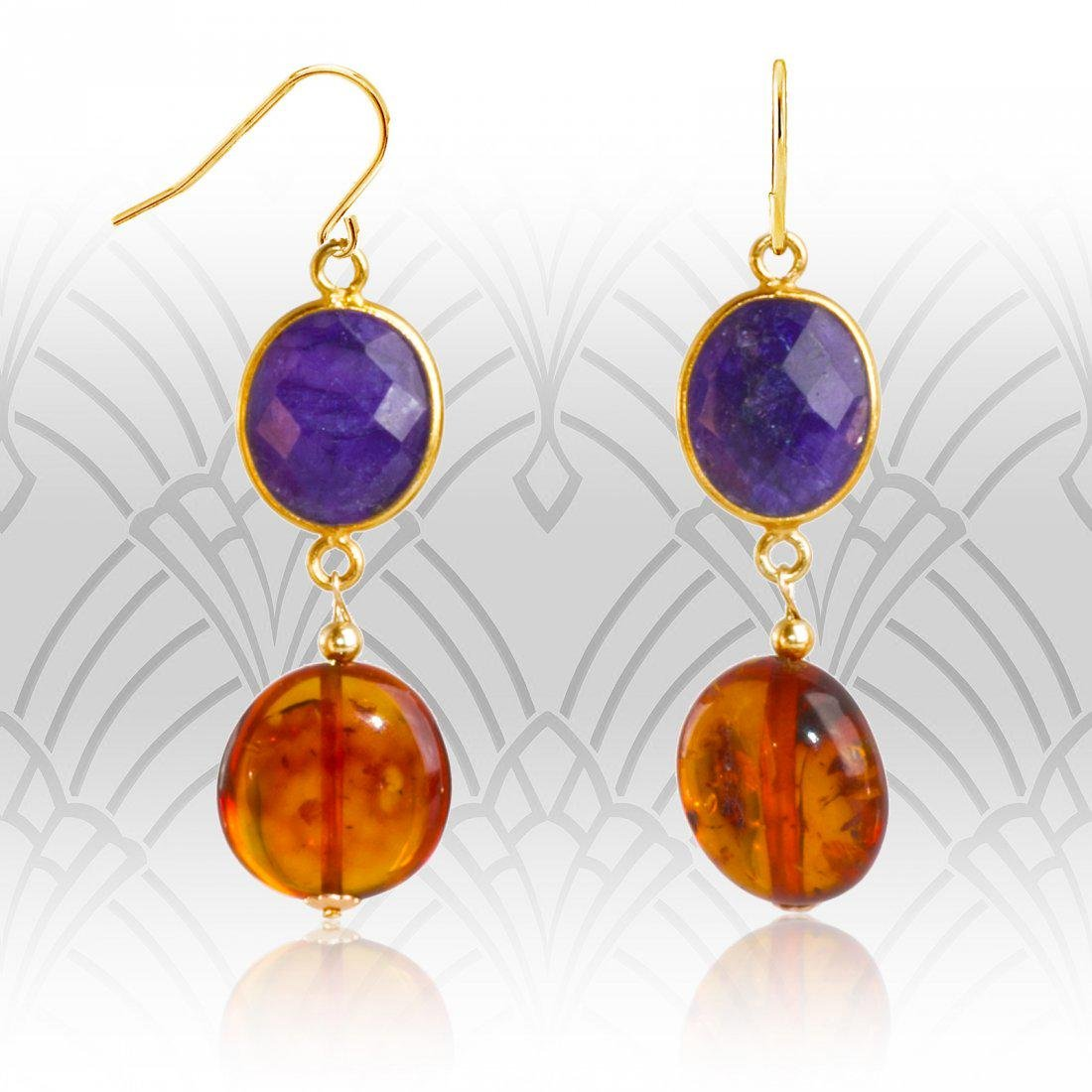 14kt Baltic Amber and Sapphire Retro Style Drop