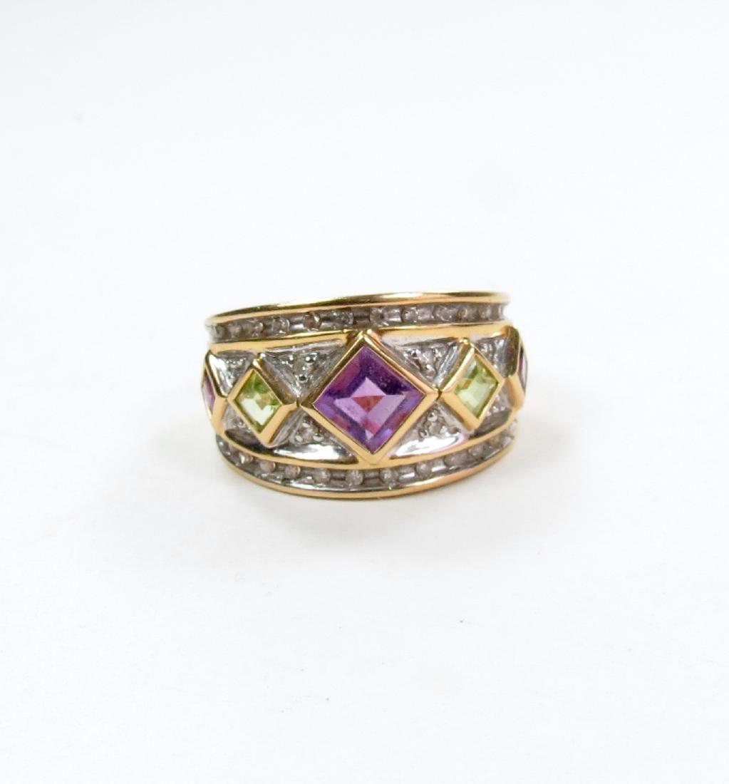 Retro 14k Gold Amethyst Peridot Diamond Band Ring