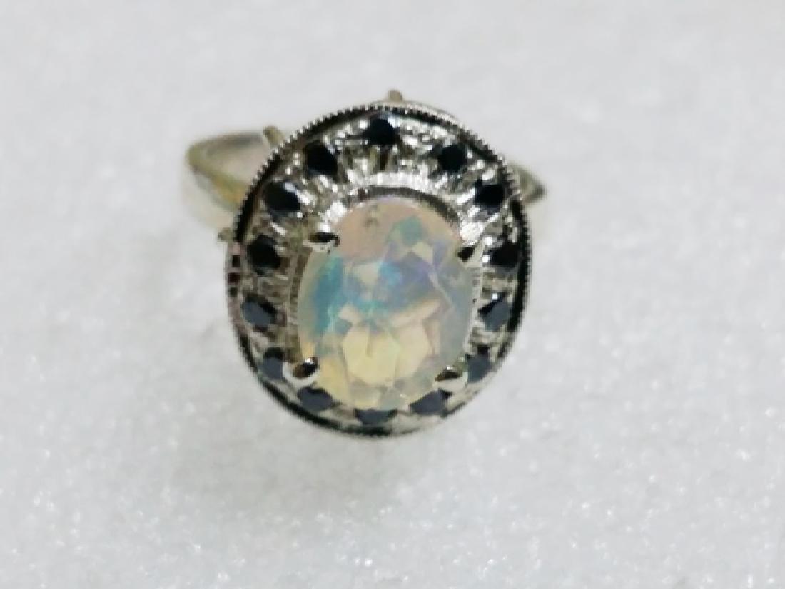 Natural Opal & Black Diamond Ring