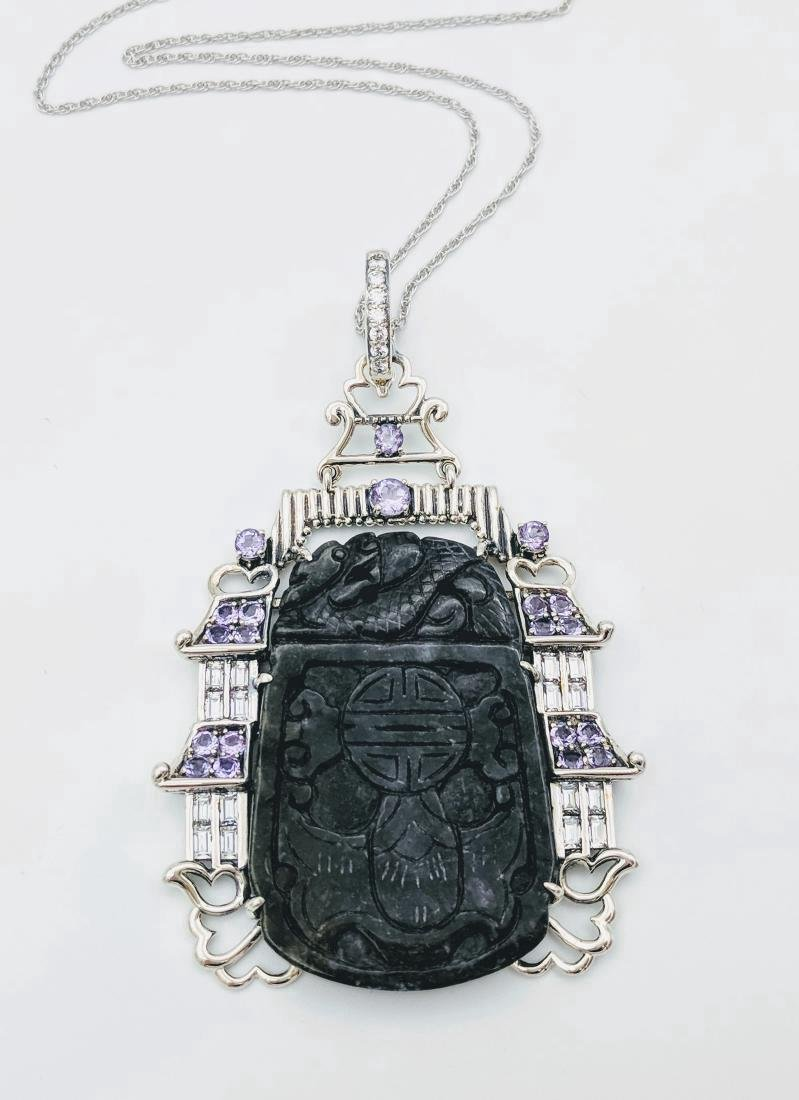 Sterling Silver Nuumite Amethyst Imperial Necklace