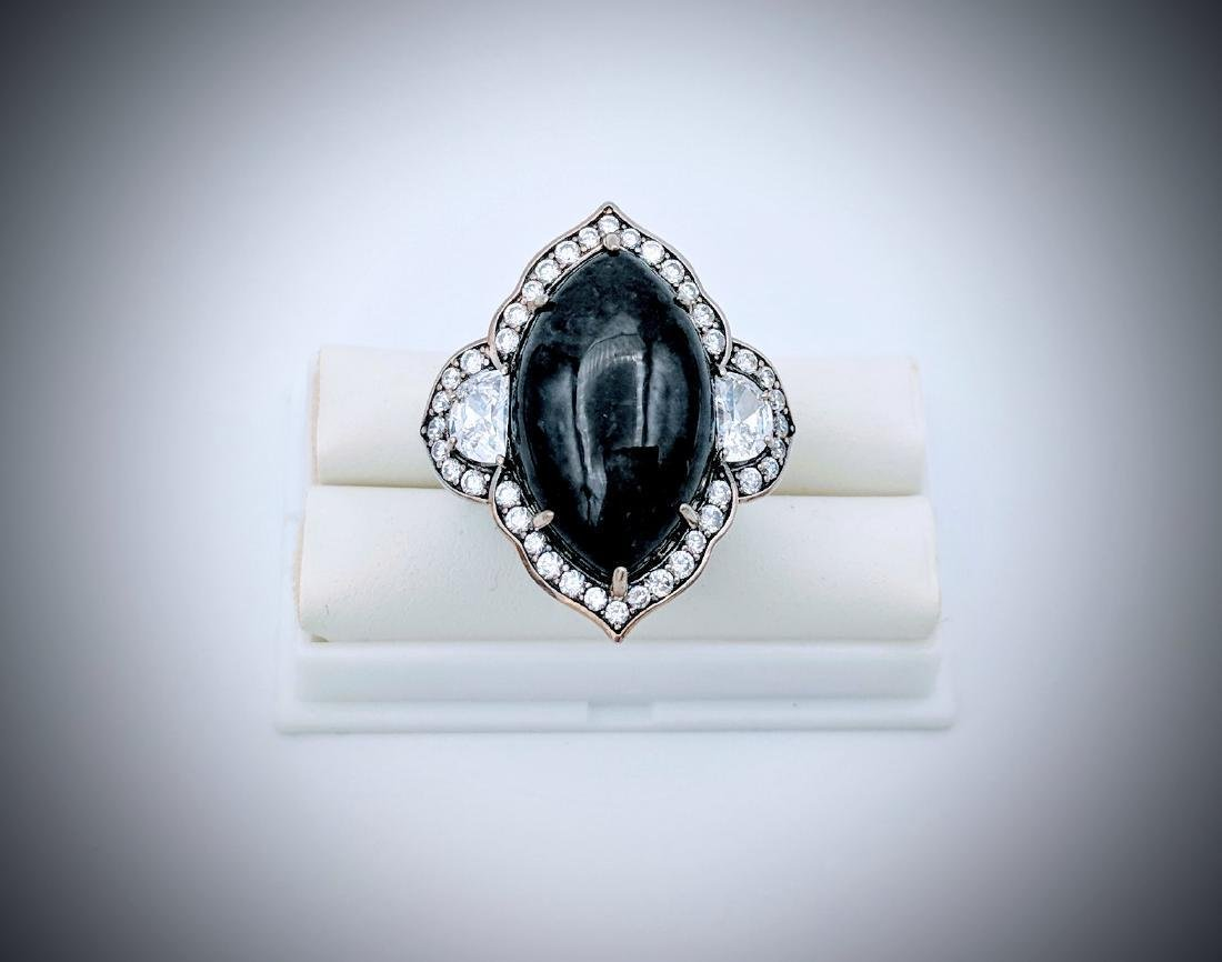 Sterling Silver Victorian Style Nuumite CZ Ring