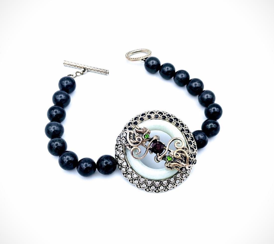 Sterling Silver Nuumite Onyx Garnet Imperial Bracelet