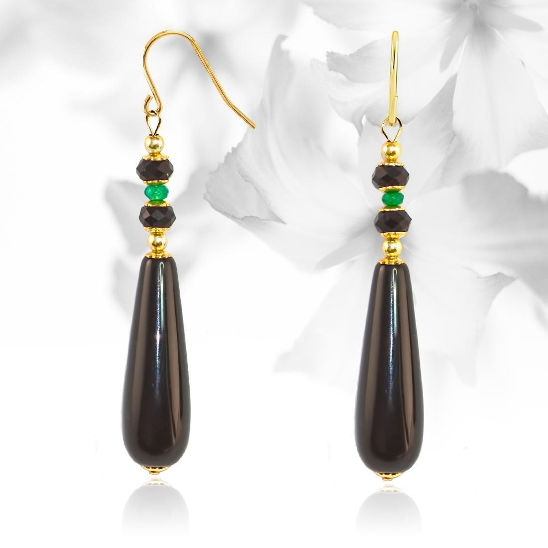 Art Nouveau Style Earrings with Black Onyx and Precious