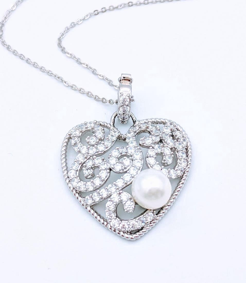Sterling Silver Pearl Cubic Zirconia Heart Necklace