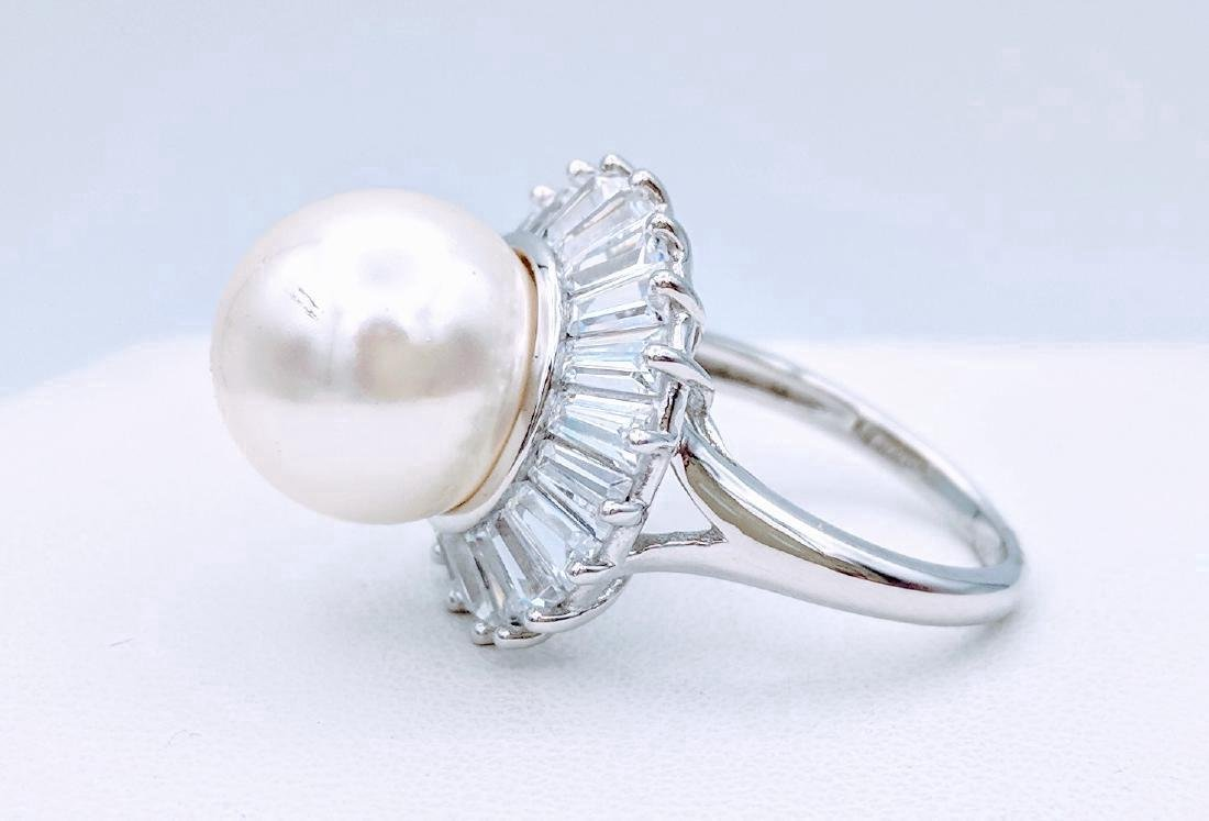 Sterling Silver Pearl Cubic Zirconia Ring