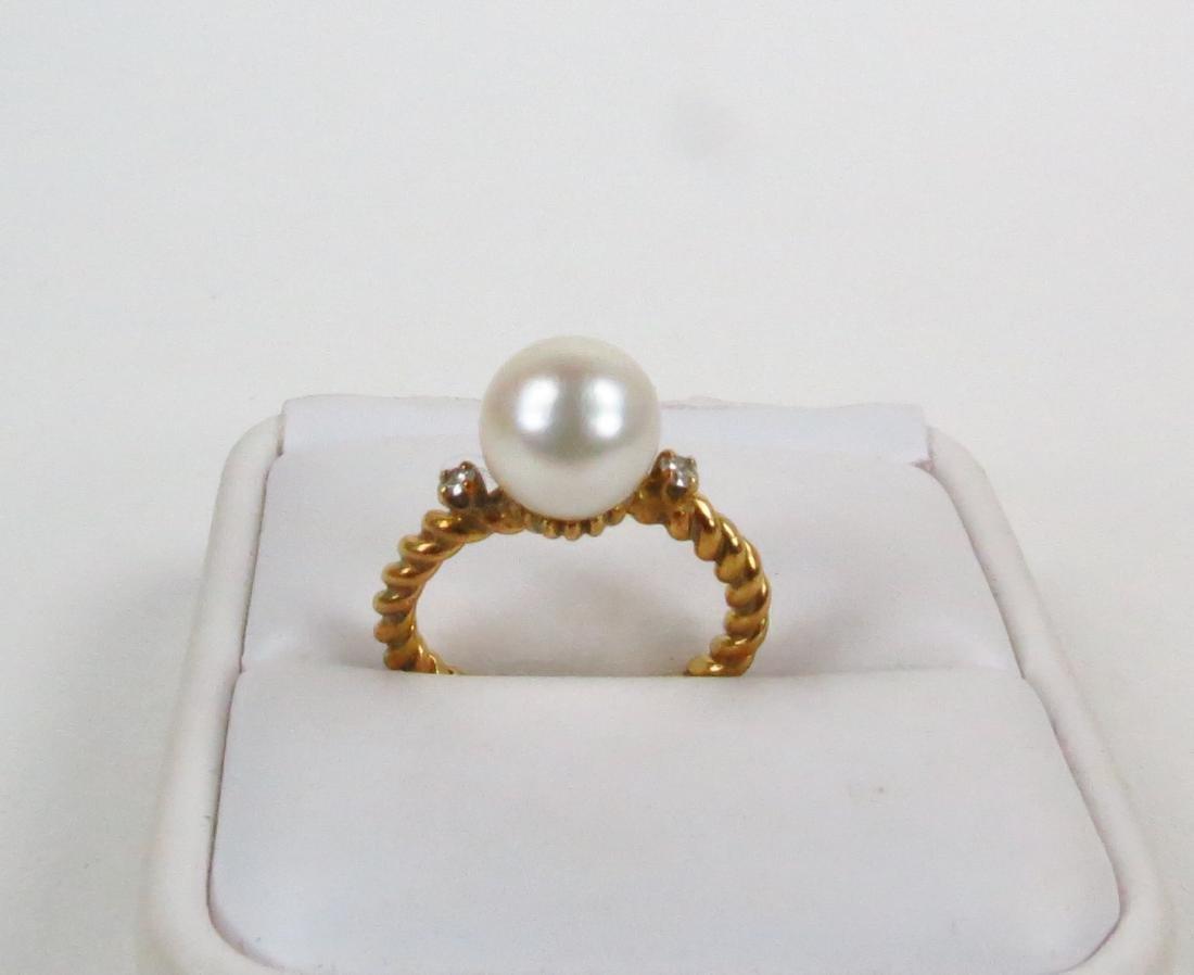 Vintage 18k Gold Cultured Pearl Diamond Wedding Ring
