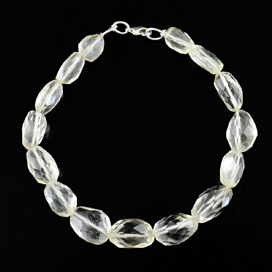 Prasiolite Bracelet with .925 Sterling Silver, length 8