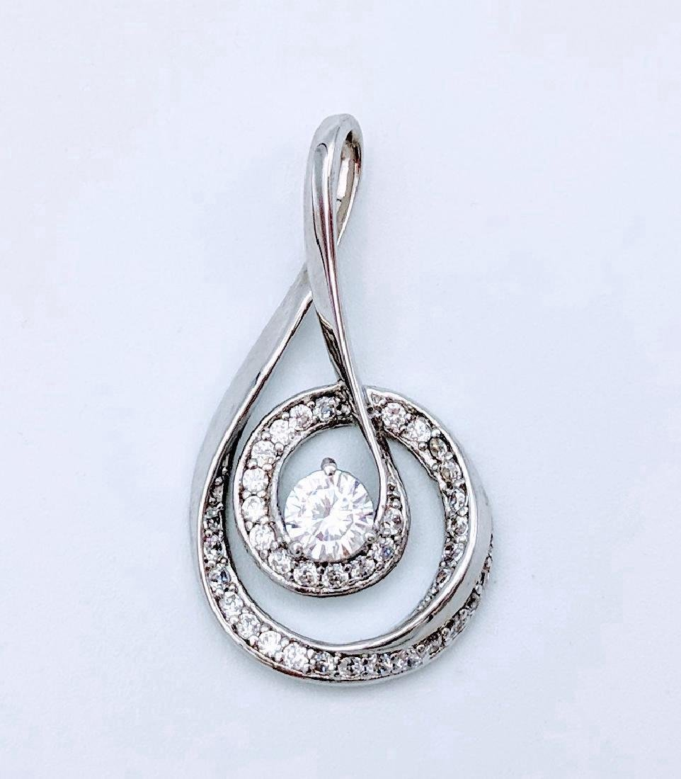 Sterling Silver Cubic Zirconia Music Pendant, 1.61ctw