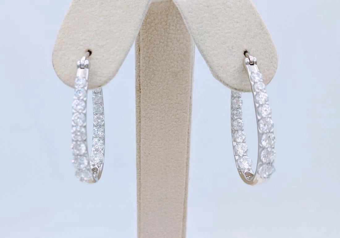 Sterling Silver Oval Cubic Zirconia Hoop Earrings
