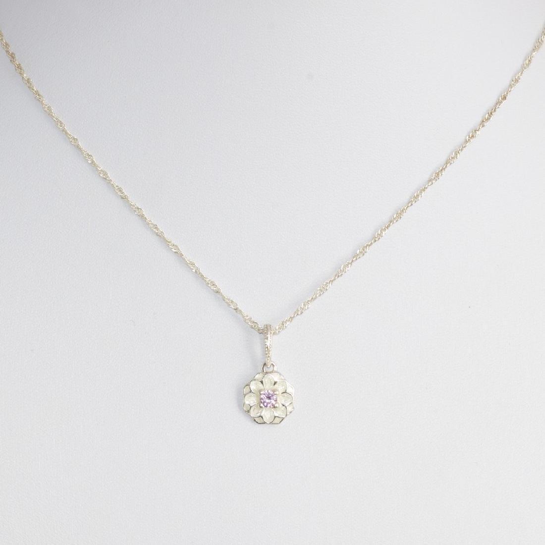 Sterling Silver Enamel Flower Necklace