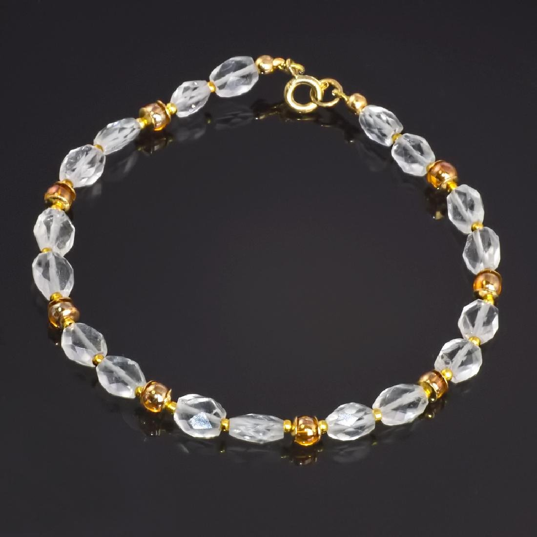 24K Suffragette Style Herkimer Diamond Quartz Bracelet