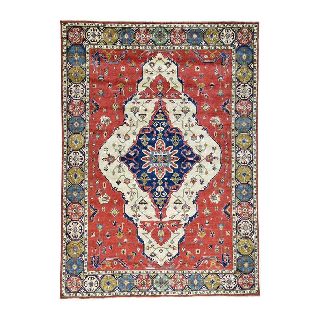 Hand-Knotted Kazak Medallion Design Wool Rug 9.10x13.7